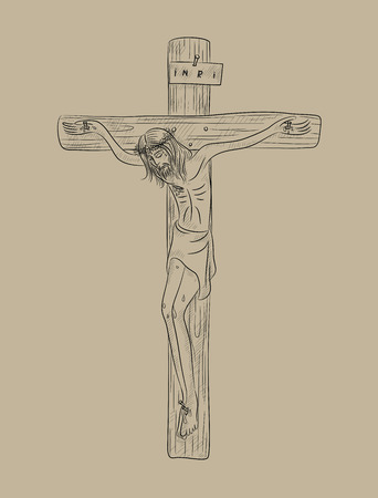 sketch drawing: Christ on cross, art vector sketch drawing