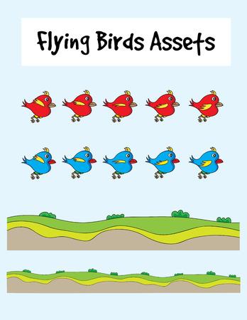 game bird: Love bird animation, art vector game asset