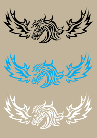 Horse head with wing, art vector design Vector