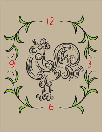 gallo: Gallo floral, decoraci�n del arte del vector