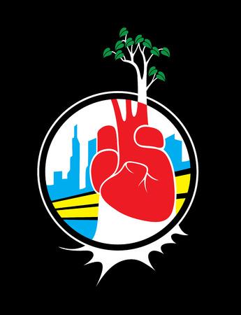go green logo: Tree art poster, vector logo design