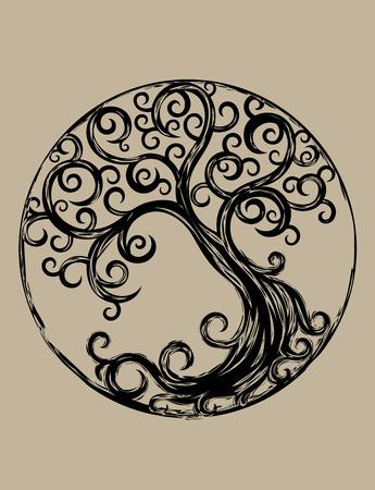 arbol de la vida: Ciclo �rbol, dise�o de arte vectorial