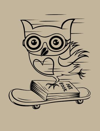 Owl with skateboard, art vector design Vector