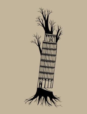leaf tree: Pisa tree, art vector design