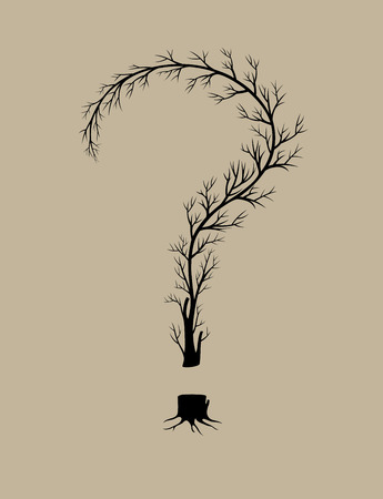 isolated tree: Question tree, art vector design