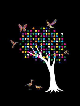 gree: Pointillism Tree art vector design