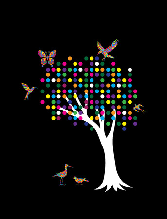 egret: Pointillism Tree art vector design