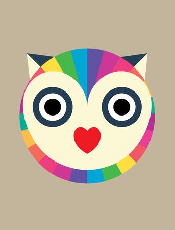 Owl Love Rainbow art vector design Vector