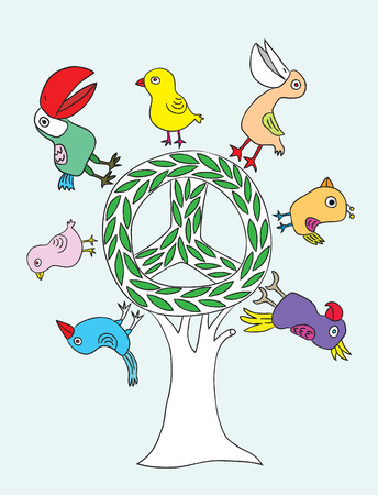 green peace: Peace Green Tree art vector design
