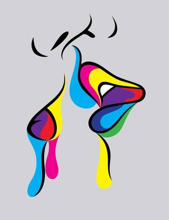 innamorati che si baciano: Disegno Bacio art vettore