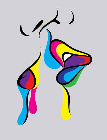 kissing lips: Kiss art vector design