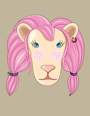 hair mask: Pink lion art vector cartoon design