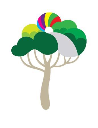 tree illustration: Green way art vector design Illustration