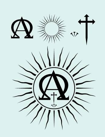 omega: Christian icon set art vector design Illustration