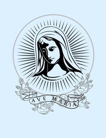 アヴェ ・ マリア アート ベクトル t シャツ デザイン  イラスト・ベクター素材