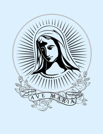 maria: Ave Maria art vector tshirt design