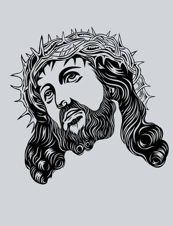 Jezus Christus Gezicht art vector design Stock Illustratie