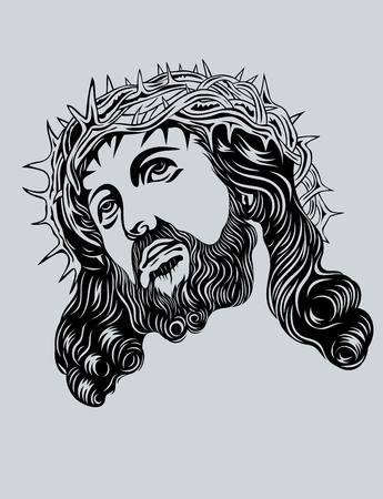 Jezus: Jezus Chrystus twarzy sztuki wektor projektowania Ilustracja