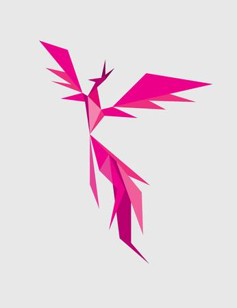 bird icon: Phoenix geometric art vector design