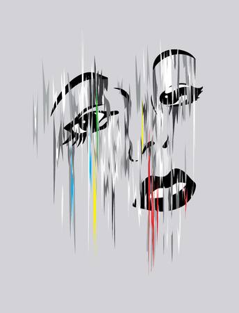 modern art: Woman head in modern art vector design
