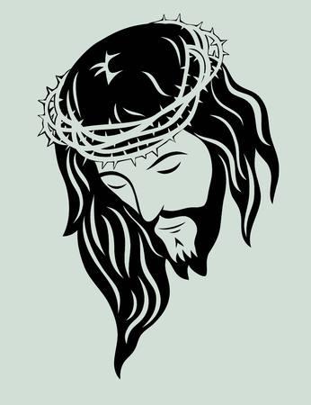 jesus en la cruz: Jesucristo cara arte de dise�o vectorial