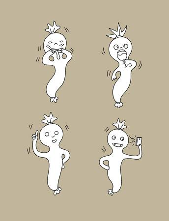 cute ghost: Cute Ghost set, art vector design Illustration