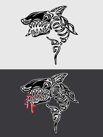 creative arts: Shark Fossil, art vector design Illustration