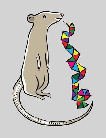 creative arts: Mouse with Snake, art vector cartoon design