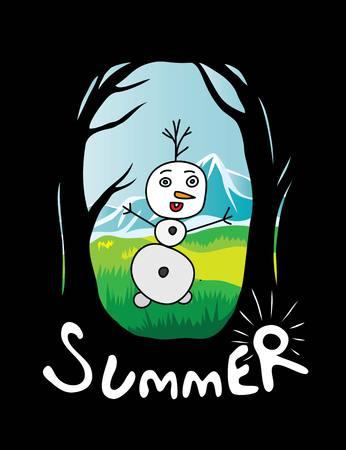 creative arts: Summer Day, art vector cartoon design Illustration
