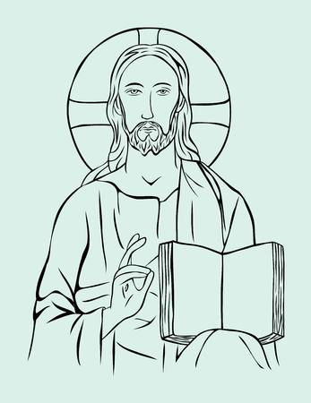 Christ with Bible, art vector sketch line design
