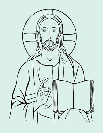Christ with Bible, art vector sketch line design