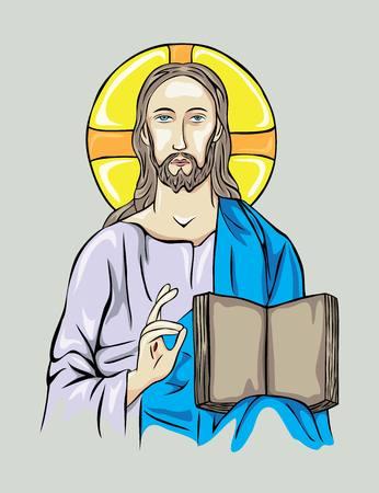 christus: Christ with Bible, art vector design