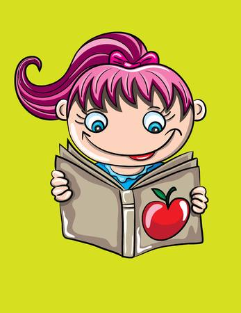 child reading book: Child Reading Book, art vector cartoon design
