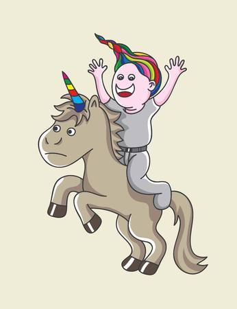 Boy with Unicorn, art vector cartoon design