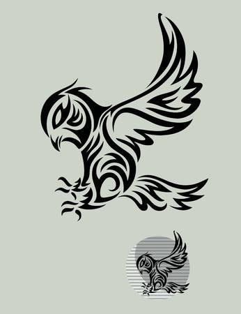 Vogel van de Uil Tribal, kunst vector design