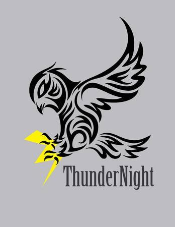 creative arts: Owl with Thunder, art vector design Illustration