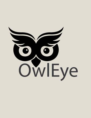 Owl Eye Logo, art vector design Vettoriali
