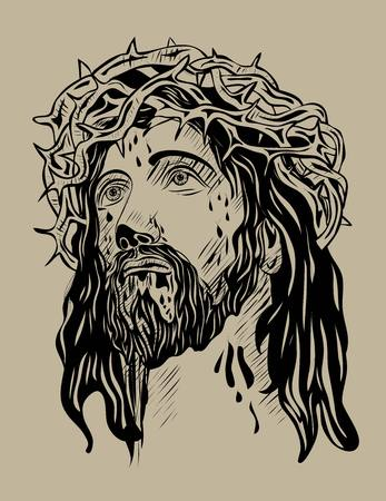 people in church: Jesus,Face, art vector sketch drawing design Illustration