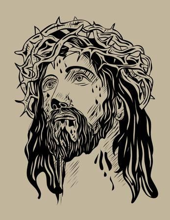 jezus: Jezus, twarz, projekt sztuki wektor rysunek szkic Ilustracja