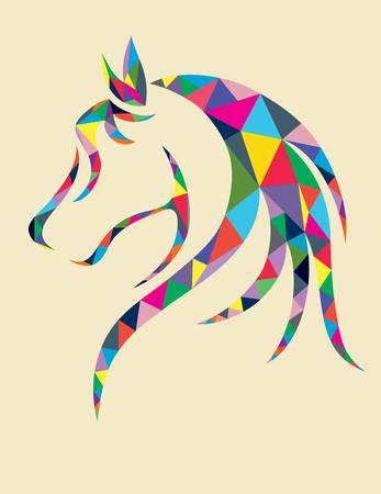 caballo: Cabeza de caballo geométrico, diseño del arte del vector Vectores