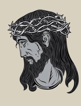 jesus face: Jesus Christ Face, art vector design