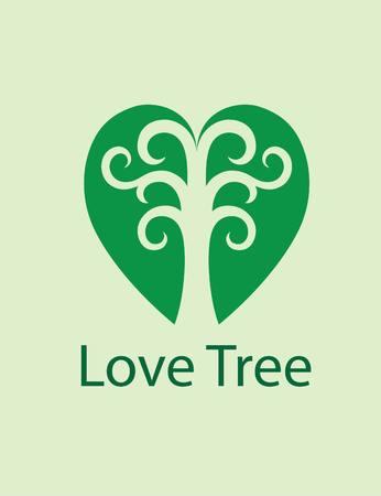 tree logo: Love Tree Logo, art vector design Illustration