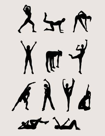 aerobic: Aerobic Silhouette, art vector design Illustration