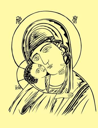 Mère et Enfant Icône, conception de vecteur d'art Banque d'images - 45363516