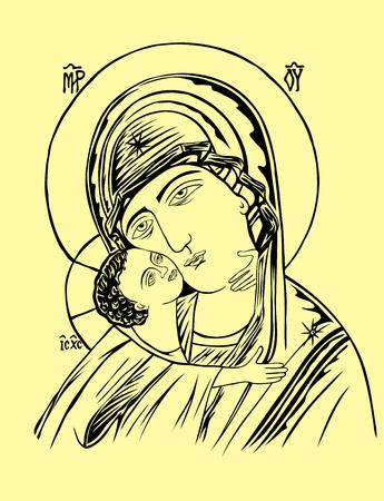 christian young: Mother and Child Icon, art vector design Illustration