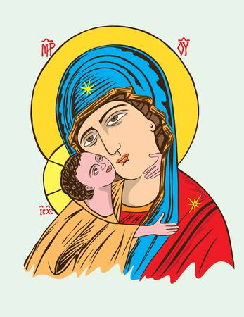 Virgin Mary and Little Christ, art vector design Çizim