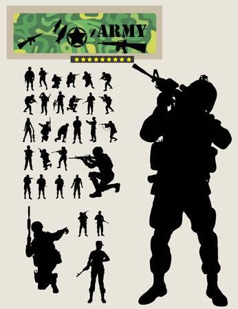 Soldier Silhouettes, art vector design Vettoriali