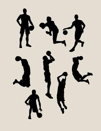 Male Basketball Silhouettes, art vector design Illustration
