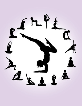 creative arts: Yoga Silhouettes, art vector design Illustration