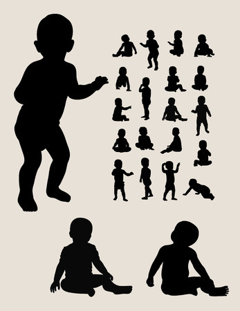 baby crawling: Baby Crawling Silhouettes Illustration
